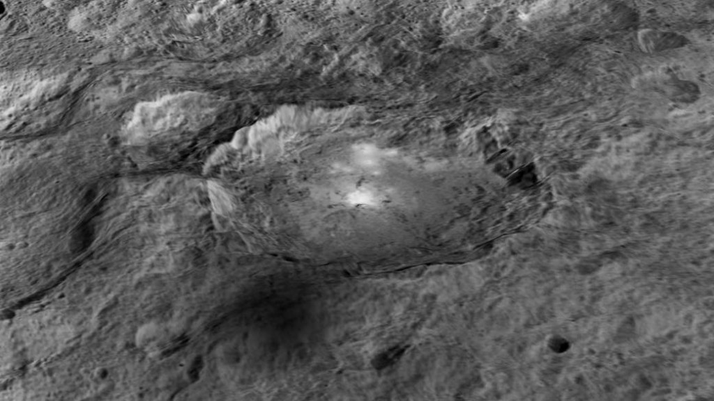 The intriguing brightest spots on Ceres lie in a crater named Occator, which is about 60 miles (90 kilometers) across and 2 miles (4 kilometers) deep. Image credit: NASA/JPL-Caltech/UCLA/MPS/DLR/IDA/LPI