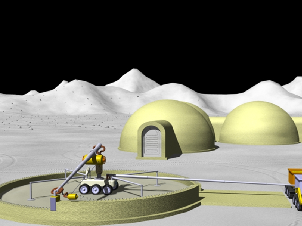 An artist's rendition of what building a structure using on-site regolith and additive manufacturing might look like. This is a technology under development for use in deep space exploration. Image Credit: NASA