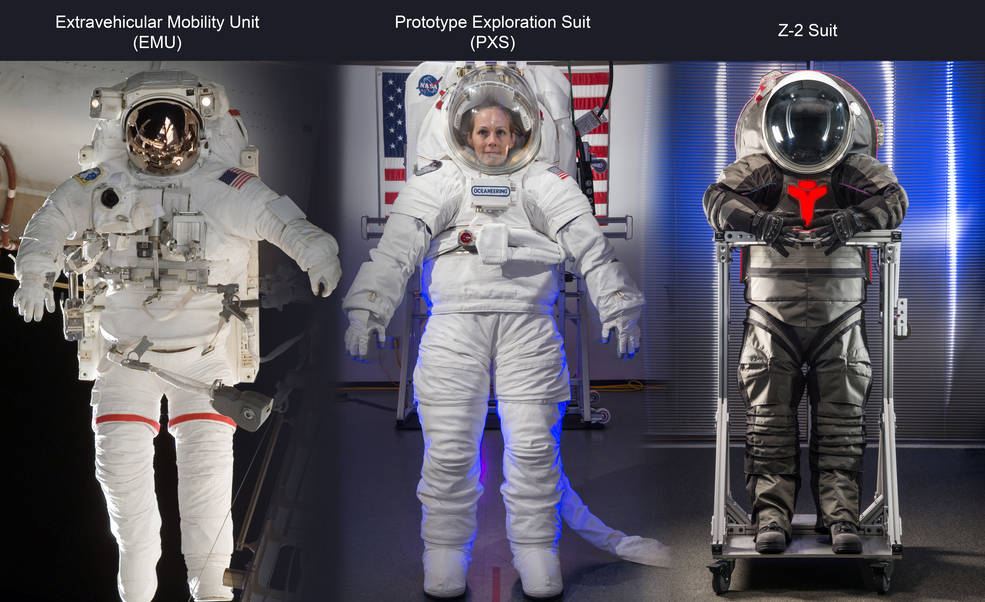 The EMU (operational spacesuit on ISS) is pictured above on the left, the PXS (advanced prototype) is in the middle and the Z2 (advanced prototype) is on the right. Image Credit: NASA