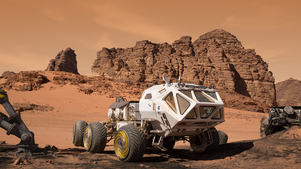 """A Mars Ascent Vehicle (MAV) is a key mode of transportation on the Red Planet in """"The Martian."""" Image Credit: Giles Keyte"""