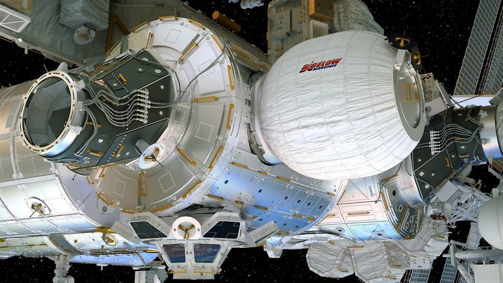 The BEAM module is attached to the rear port of the space station's Node 3. The BEAM expands to roughly 13-feet-long and 10.5 feet in diameter. Image Credit: Bigelow Aerospace, LLC