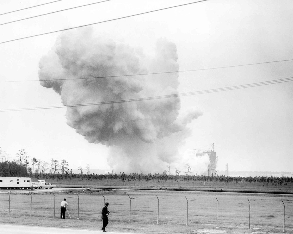 NASA conducts its first hot fire test at Stennis Space Center (then known as Mississippi Test Facility) on April 23, 1966, a 15-second firing of a Saturn V second stage prototype (S-II-C) on the A-2 Test Stand. Image Credit: NASA/SSC