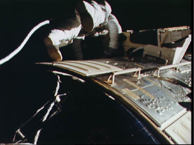 Astronaut Alfred Worden floats in space outside spacecraft during EVA. Image Credit: NASA