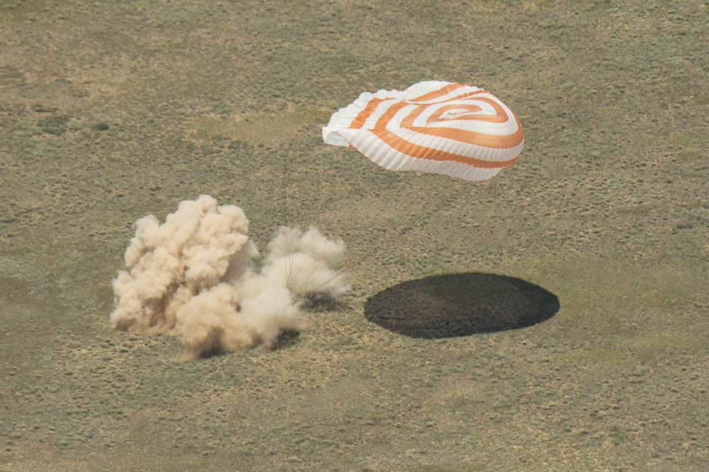 The Soyuz TMA-19M spacecraft is seen as it lands with Expedition 47 crew members Tim Kopra of NASA, Tim Peake of the European Space Agency, and Yuri Malenchenko of Roscosmos near the town of Zhezkazgan, Kazakhstan on Saturday, June 18, 2016. Kopra, Peake, and Malenchenko are returning after six months in space where they served as members of the Expedition 46 and 47 crews onboard the International Space Station. Image Credit: NASA/Bill Ingalls