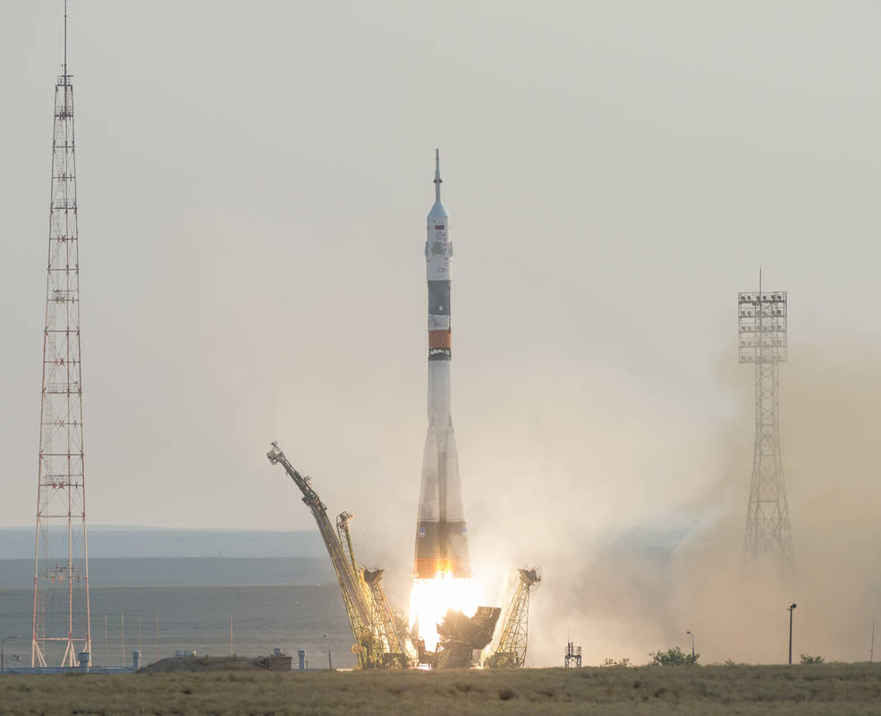The Soyuz MS-01 spacecraft launches from the Baikonur Cosmodrome with Expedition 48-49 crewmembers Kate Rubins of NASA, Anatoly Ivanishin of Roscosmos and Takuya Onishi of the Japan Aerospace Exploration Agency (JAXA) onboard, Thursday, July 7, 2016 , Kazakh time (July 6 Eastern time), Baikonur, Kazakhstan. Rubins, Ivanishin, and Onishi will spend approximately four months on the orbital complex, returning to Earth in October. Image Credit: NASA/Bill Ingalls