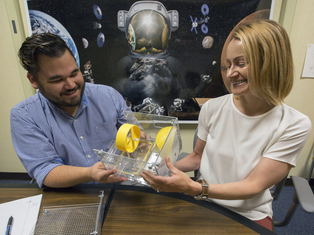 Researchers Matt Simon, left, and Erica Rodgers look over a prototype Multigenerational Independent Colony for Extraterrestrial Habitation, Autonomy, and Behavior health (MICEHAB) habitat module. Image Credit: NASA