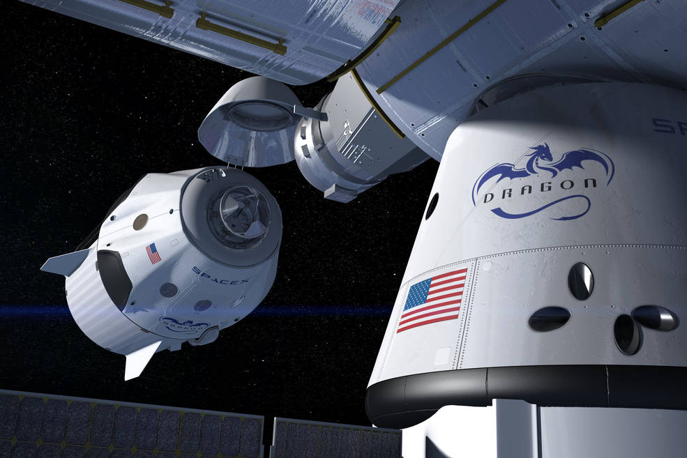 This artist's concept shows a SpaceX Crew Dragon docking with the International Space Station, as it will during a mission for NASA's Commercial Crew Program. NASA is partnering with Boeing and SpaceX to build a new generation of human-rated spacecraft capable of taking astronauts to the station and back to Earth, thereby expanding research opportunities in orbit. Image Credit: SpaceX