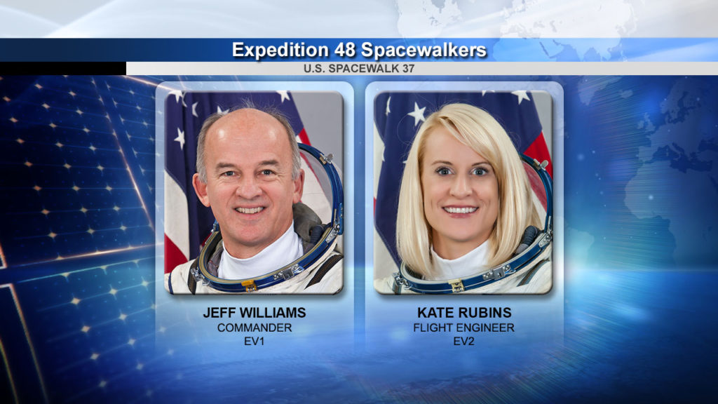 Spacewalkers Jeff Williams and Kate Rubins completed the second spacewalk of the Expedition 48 mission. Image Credit: NASA