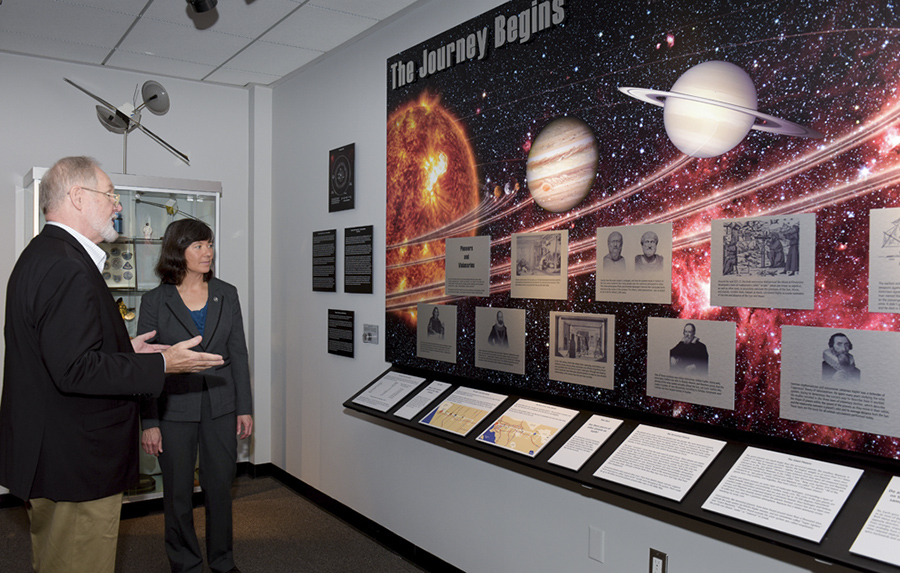 Dr. Malina Hills and retired Aerospace engineer Steven Soukup at opening of the Space Exploration Gallery of the Flight Path Museum and Learning Center on Thursday, Sept. 22. Image Credit: Elisa Haber