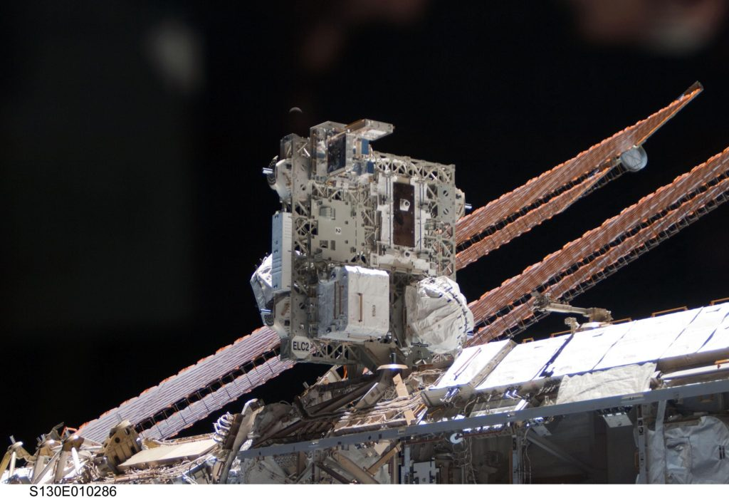 One of the EXPRESS Logistics Carriers (ELCs) mounted to the outside of the International Space Station. Image Credit: NASA