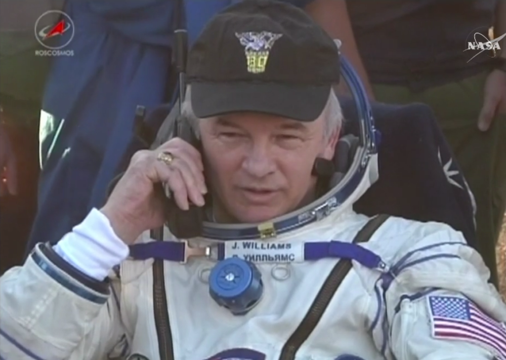 After safely returning Sept. 6, 2016 from his latest mission to the International Space Station, veteran NASA astronaut Jeff Williams now has spent 534 days in space, making him first on the all-time NASA astronaut list. Image Credit: NASA TV