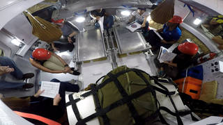 Engineers conducted testing in a representative Orion to evaluate procedures that will be used to protect astronauts during radiation events in space. Image Credit: NASA