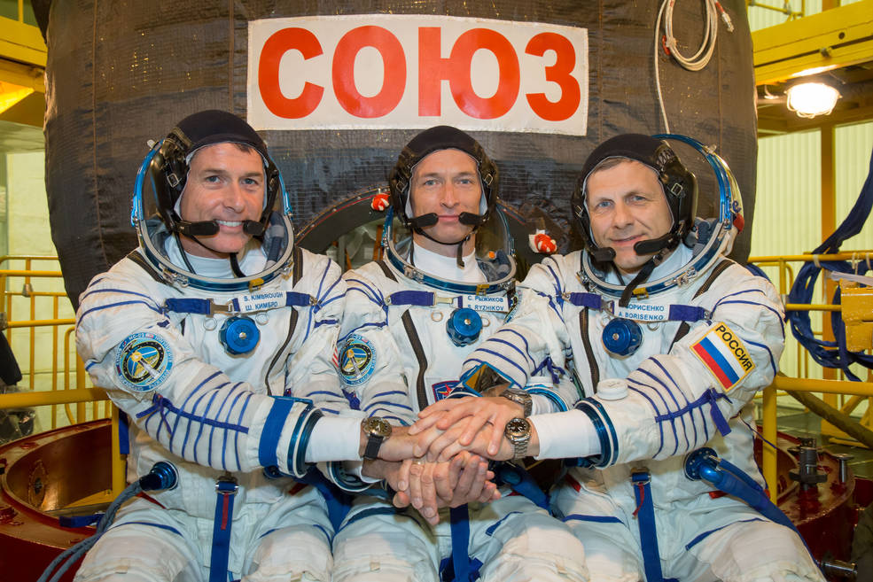 Expedition 49 crew members Shane Kimbrough of NASA, and Sergey Ryzhikov and Andrey Borisenko of the Russian space agency Roscosmos at the Baikonur Cosmodrome in Kazakhstan on Sept. 9, 2016. Image Credit: NASA