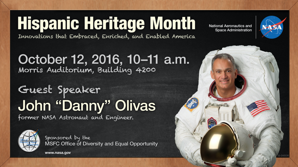 "Former NASA astronaut John ""Danny"" Olivas will give the keynote address during a Hispanic Heritage event Oct. 12 at NASA's Marshall Space Flight Center in Huntsville, Alabama. Image Credit: NASA/MSFC"