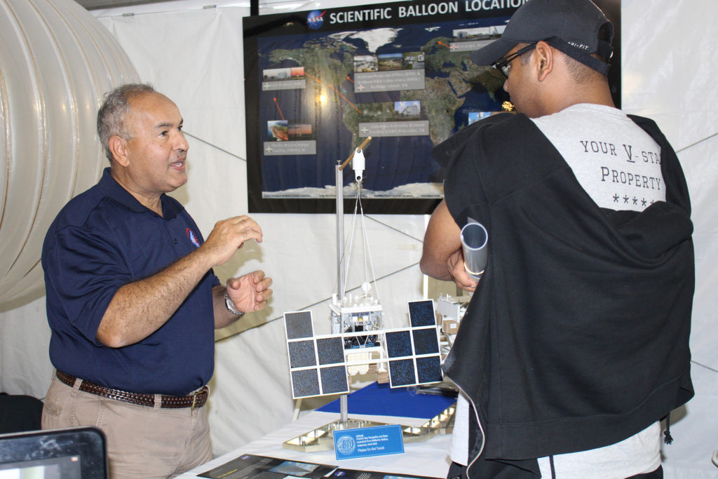 Magdi Said, technology manager for the NASA Balloon Program Office, talks to an engineering student about the need for quality in developing scientific balloons that fly experiments worth millions. Image Credit: NASA/Jay Levine
